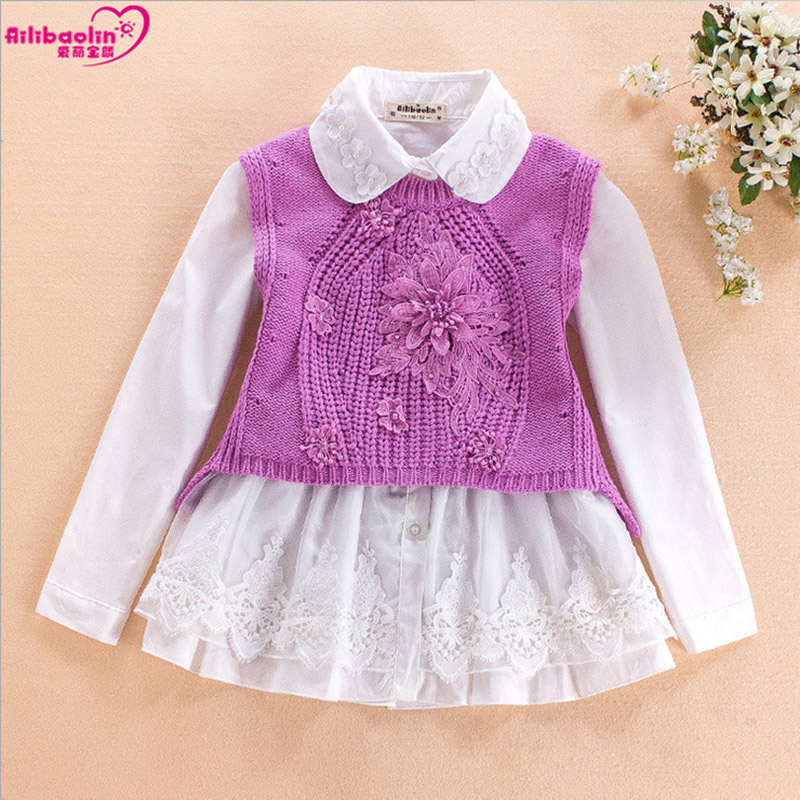 Girl sets 2017 spring autumn new Baby Grils Suits Clothes Cotton sweater vest dress princess lapel suit children clothing 7 10 1 chic faux crystal heart wings bracelet for women
