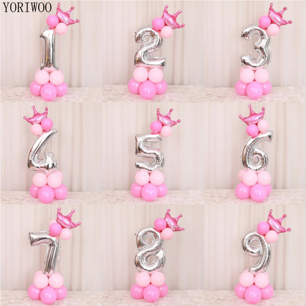 YORIWOO <font><b>Number</b></font> Foil <font><b>Balloons</b></font> 1 2 3 4 5 6 7 <font><b>8</b></font> 9 Children Birthday Baloons Birthday Party Decorations Kids Baby Shower Babyshower image