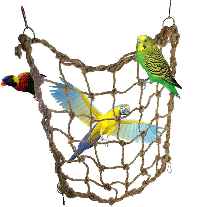 Bird Supplies Durable Pet Parrot Birds Climbing Net Toys Parakeet Cockatiel Swing Play Rope Ladder Chew Toy 38x38cm And Digestion Helping