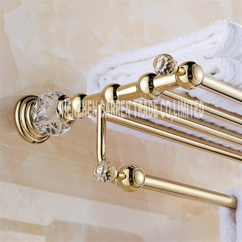 Brass+Crystal Titanium Gold Plating Towel Rack,towel Shelf with Bar,towel Holder Bathroom accessories European bath towel racks free ship gold clour bathroom crystal bathtowel racks bathtowel shelf towel holder