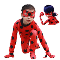 The Miraculous Ladybug Suit Cosplay Costumes Kids Adult Full Lycra Zentai Suit Girls Marinette Ladybug Costume