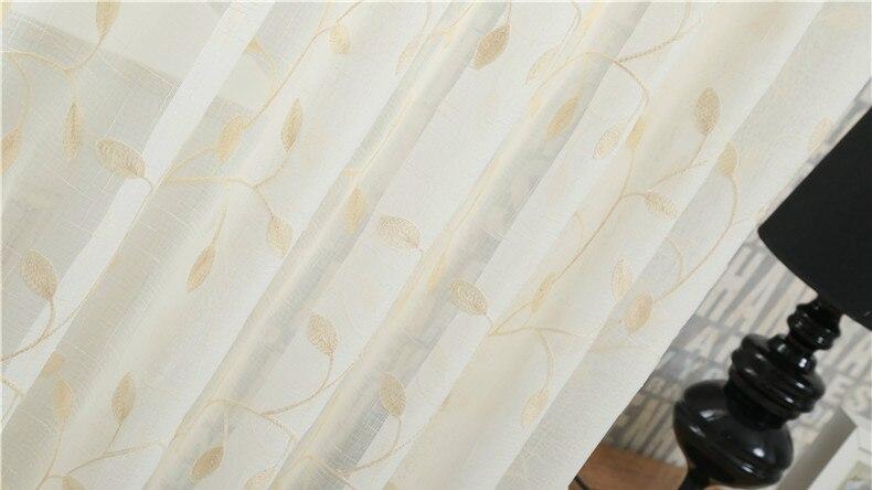 ②europese witte geborduurde voile gordijnen slaapkamer vitrage voor
