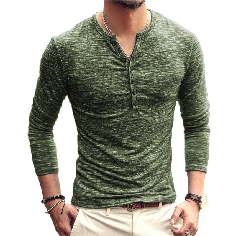 Shokotano camisa masculina henley manga longa elegante fino ajuste t topos botão colarinho casual camiseta masculina outwears design popular t