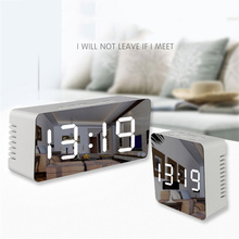 Зеркальный Светодиодный Настольные или настенные часы Цифровые будильники дисплей Современные часы ночник для дома, кухни, офиса, спальни модный подарок стол