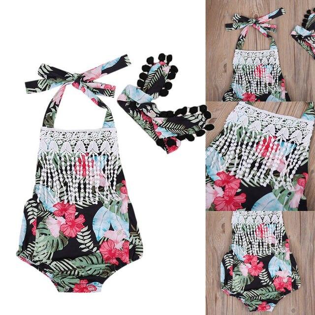 798e0c7c3f8d Cute Newborn Baby Girl Clothes Summer Tassels Halter Neck Romper Jumpsuit +  Headband Outfits Sunsuit Clothinf Set