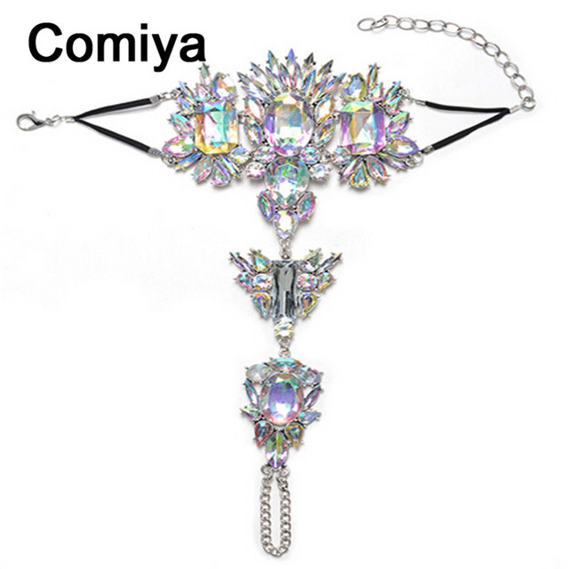 Comiya statement accessories indian jewelry rhinestone mosaic bracelet for women pulseira feminina aliexpress bracelets 2017