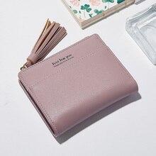 83b649c34 Mini Carteiras Mulheres Moda Tassel Zipper PU Bolsa Para Meninas Carta  Cartões De Foto de Couro