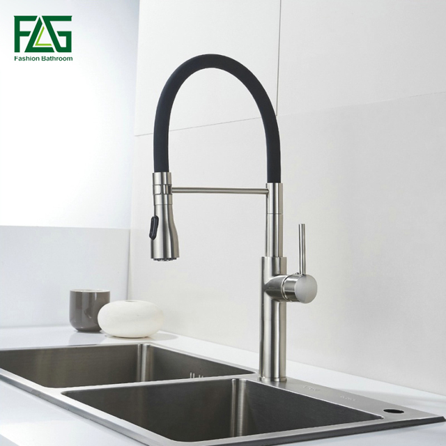FLG Unique Design Kitchen Faucet Brass Kitchen Tap Rotate 360 Degrees Black  Kitchen Sink Mixer Torneira