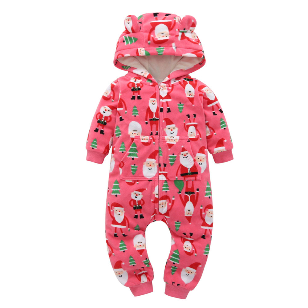 Dropshipping Christmas baby Boys Girls rompers newborn clothing Long Sleeve Thicker Printing Hooded Romper Jumpsuit Home clothes