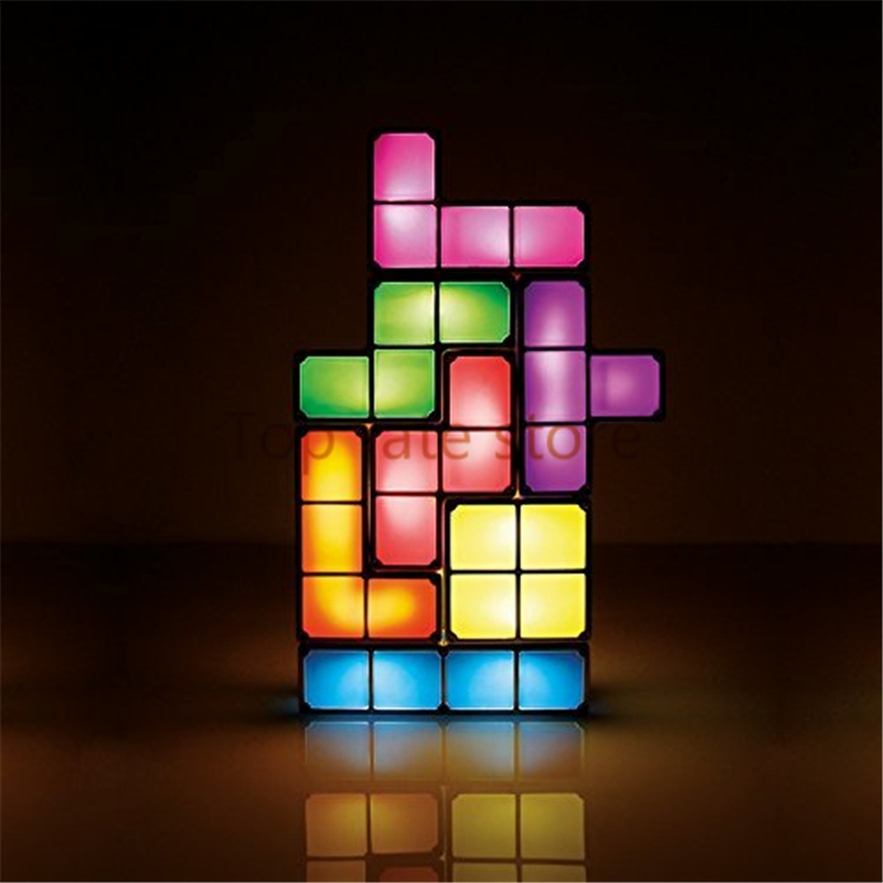Unique Desk Lamps: New Arrival Tetris Puzzle Light LED Constructible B lock Desk Decorative  Lamp for kids DIY Retro Game Style chrismas gifts Sale,Lighting