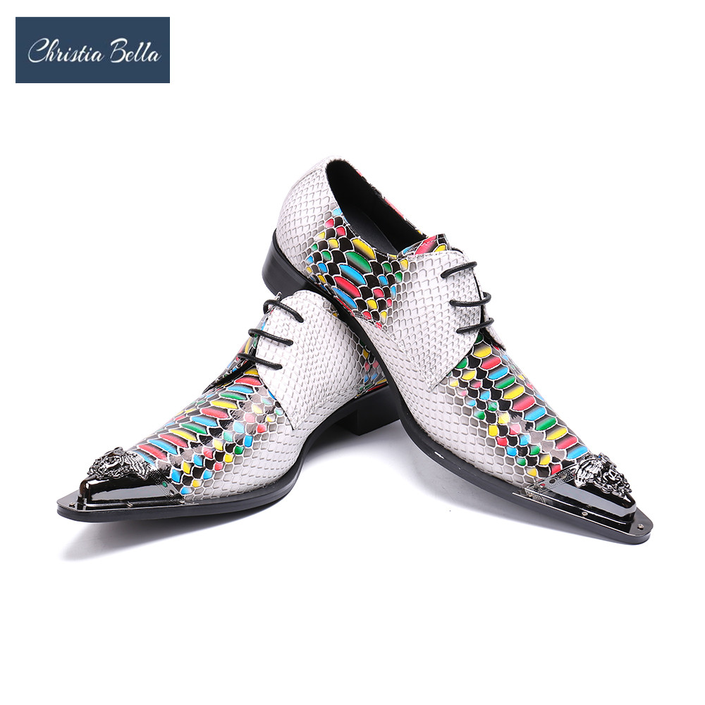 Christia Bella Fashion Designer Multicolor Real Leather Men Oxfords Office shoes Wedding Dress Shoes Lace Up Business Men Shoes