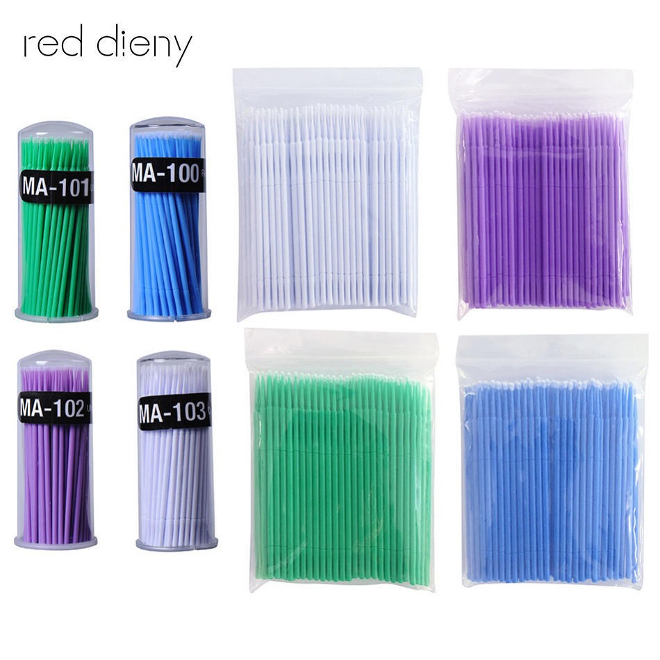 100pcs / lot Micro Durable Disposable Eyelash Extension Individuelle applikatorer Mascara børste til kvinder øjenvipper lim rengøring stick