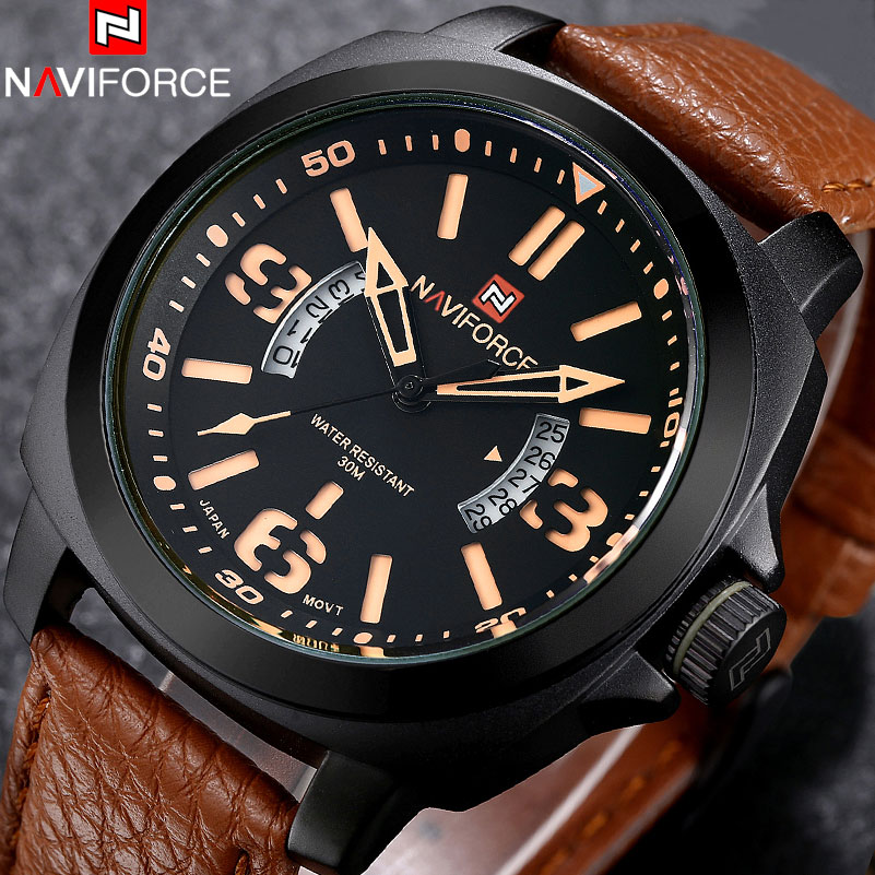 NAVIFORCE 2017 Luxury Brand Mens Fashion Casual Watch men Military Sport Watches Analog Quartz Wristwatches 30M Waterproof Clock mens watch top luxury brand fashion hollow clock male casual sport wristwatch men pirate skull style quartz watch reloj homber