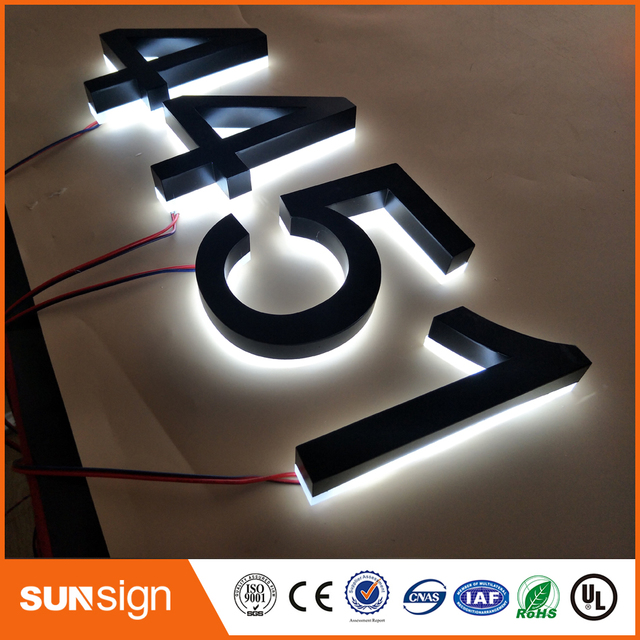 US $0 8 |Custom metal signs led backlit signs embossed metal letters and  numbers-in Electronic Signs from Electronic Components & Supplies on
