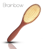 1pc Brown Natural Sandalwood Wood Brush Healthy Care Massage Hair Combs Antistatic Detangling Airbag Hairbrush Hair