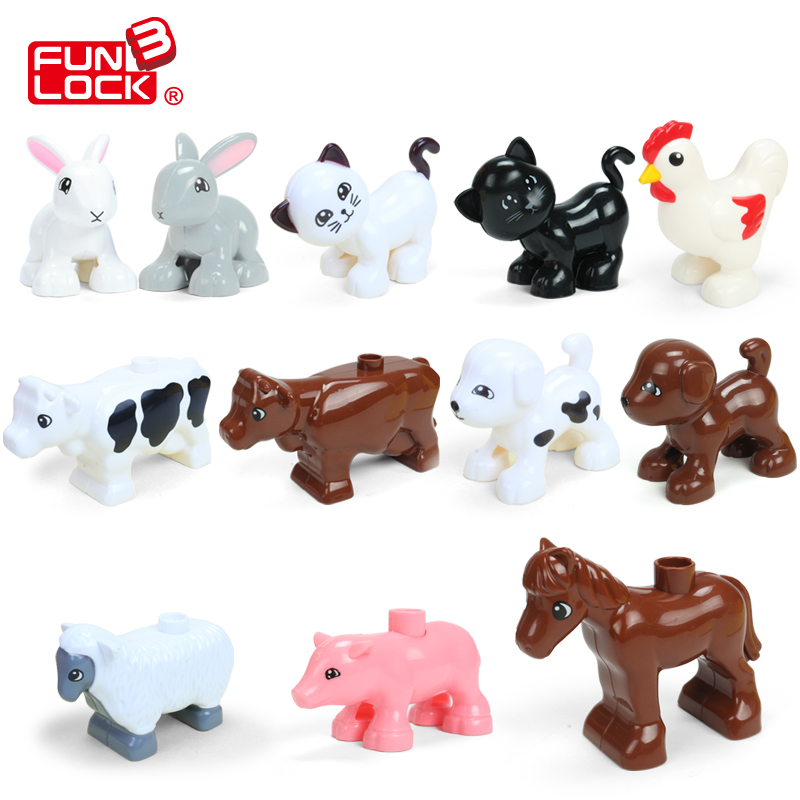 FUNLOCK Duplo Blocks Toys Animal Figures Building Parts Funny Farm Series Educational Learning Toys For Kid