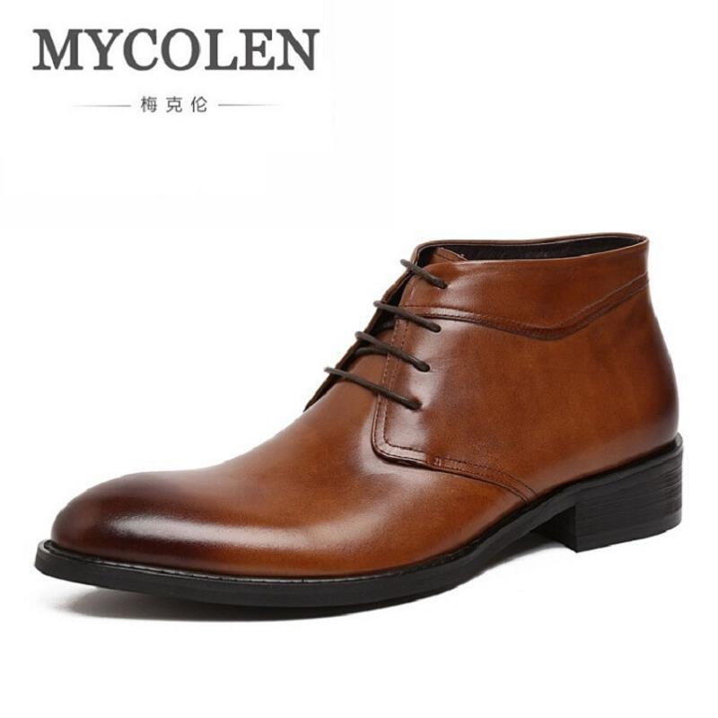 MYCOLEN New Classical Men Boots Genuine Leather Winter Boots Casual Shoes Men Comfortable High Top Ankle Boots 3 Colors sitemap 75 xml