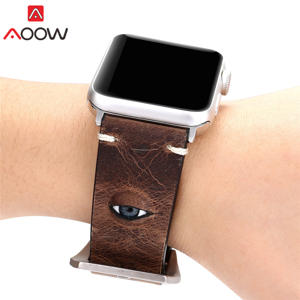 Green Genuine Leather Watchband for Apple Watch 40mm 44mm 38mm 42mm Eyes Deco Replacement Bracelet Strap Band for iWatch 1 2 3 4