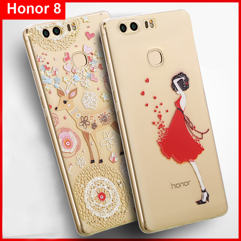 Vpower 3D Relief Case för Huawei Honor 8 mjuk silikon genomskinlig - Reservdelar och tillbehör för mobiltelefoner