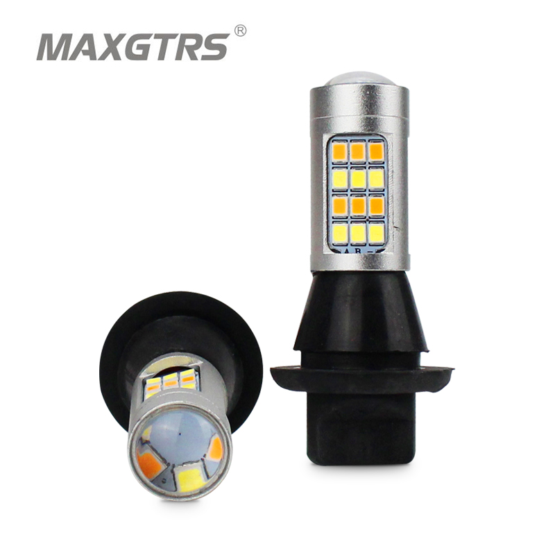 2x S25 1156 BA15S Dual Color 42SMD 2835 Car LED Bulbs For Front Turning Lights Signal DRL Error Free Canbus With 100W Resistance 1156 bau15s 7440 7443 2835 20w canbus error free car auto front side turn signal drl daytime running lights lamps bulbs g