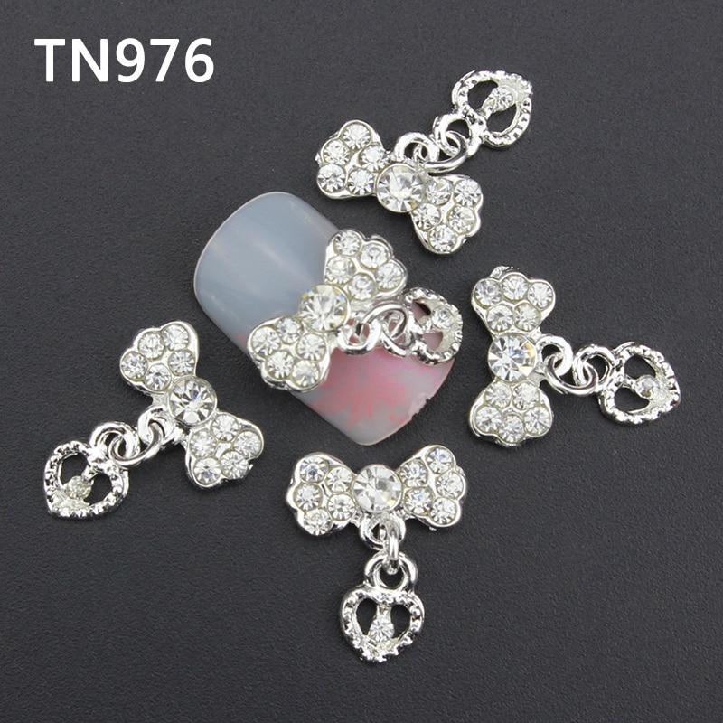 Azul 10 piezas brillo plata 3D lazos decoración de uñas con diamantes de imitación de corazón, dijes de uñas de aleación para herramientas de uñas TN976