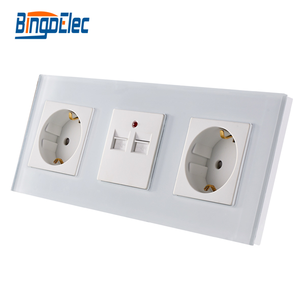 CE Certification Double Germany Socket and 3.1A 3100MA USB Wall Socket,White Glass Panel, Europe Standard CE Certification Double Germany Socket and 3.1A 3100MA USB Wall Socket,White Glass Panel, Europe Standard