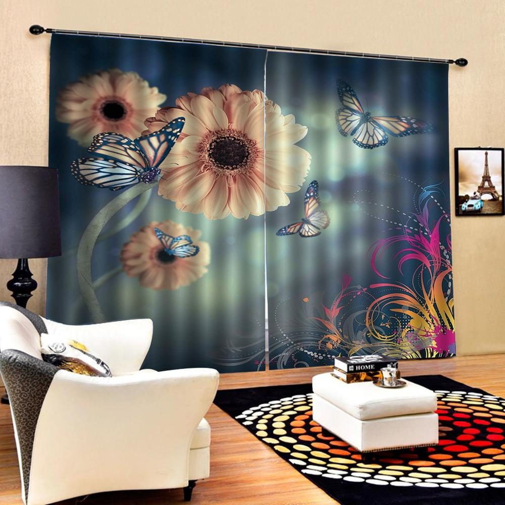 3D Curtain Luxury Blackout Window Curtain Living Room flower butterfly curtains for bedroom Blackout curtain