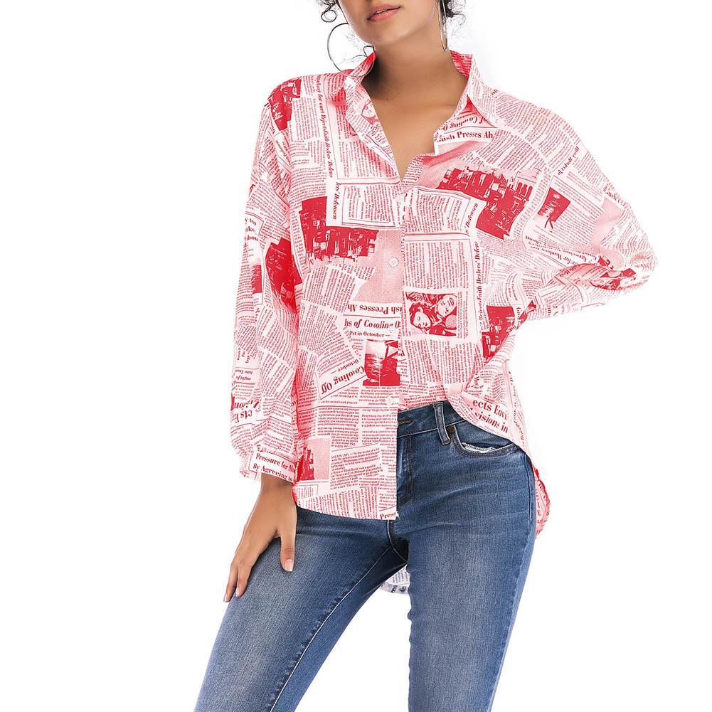 Осенняя Женская винтажная газетная печать отложной воротник с длинным рукавом Блузка рубашка новая