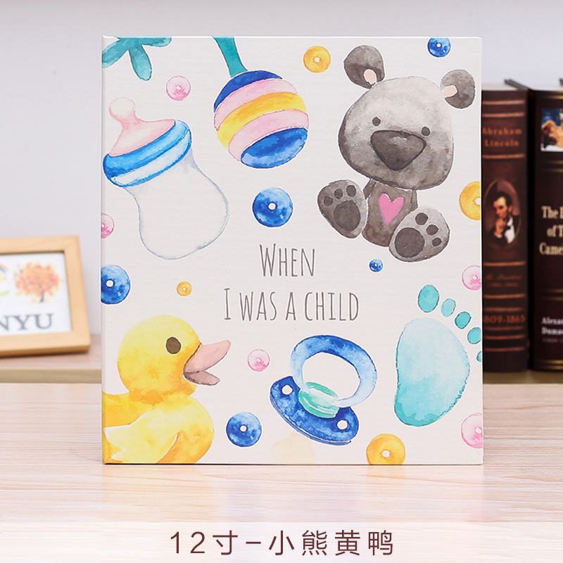 Leather cover baby infant children growth record DIY photo album 12 inch 18 inch this newborn