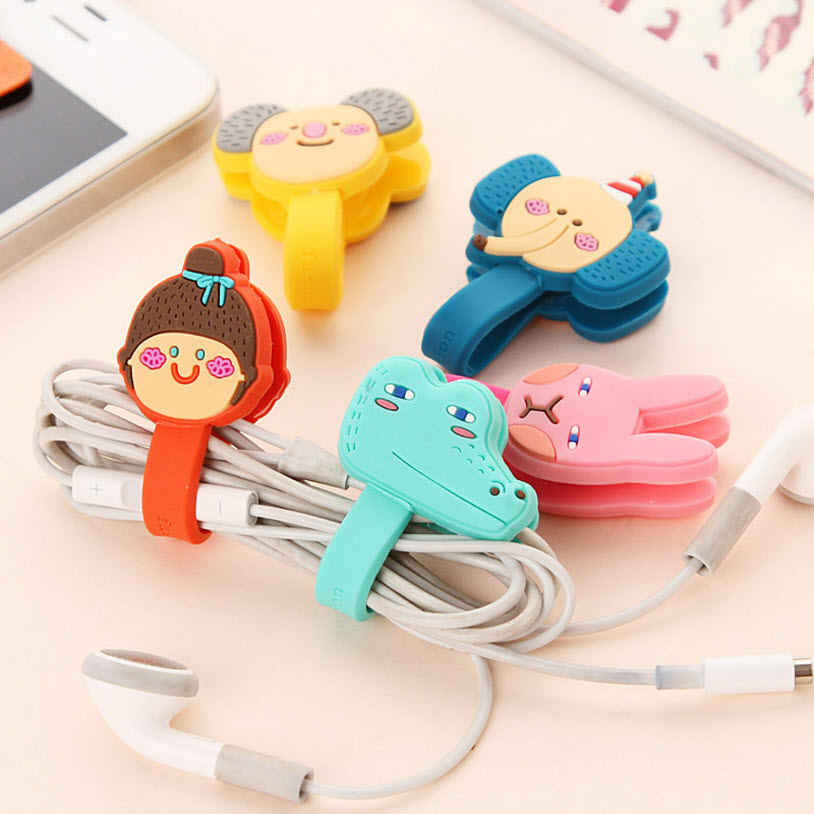 1PC Cartoon Earphone Headphone Silicone Winder Cable organizer Cord Organizer Holder For iPhone for Tablet Mp5 Multi-styles