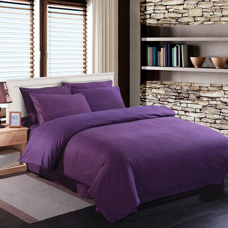 Deep purple bedding set duvet quilt cover king size queen full double  bedspread bed sheet 100
