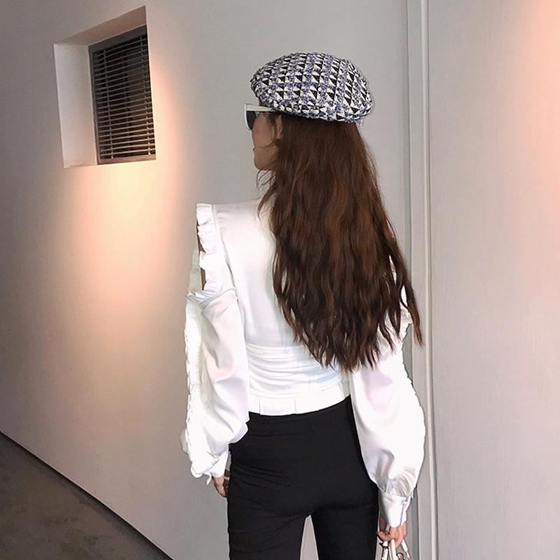 Robe femme Vintage OL chemise froufrous évider hauts chemisier à manches longues femmes à volants col montant Blouses 2019 - 4