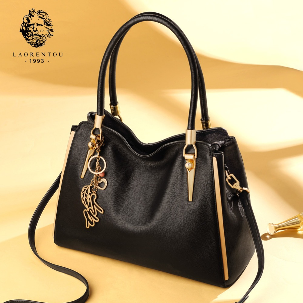 LAORENTOU Women Natural Lather Casual Tote New Fashion Handbags Tailor-made Lady Cow Leather Large Capacity Messenger Bag