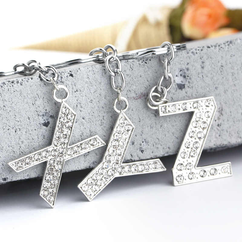 XIAOJINGLING DIY Moda Espumante Cristal Rhinestone Letra Inicial do Alfabeto Chaveiro Cadeia Anel Chave Chaveiro Unisex 26 Letras