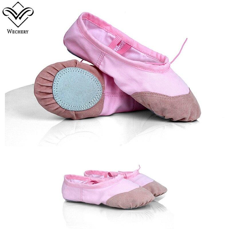 Wechery Girls Women Dancing Shoes for Ballet Dance Wear Cotton Gymnastics Shoes for Leotards Ballet Dress Size 26-37