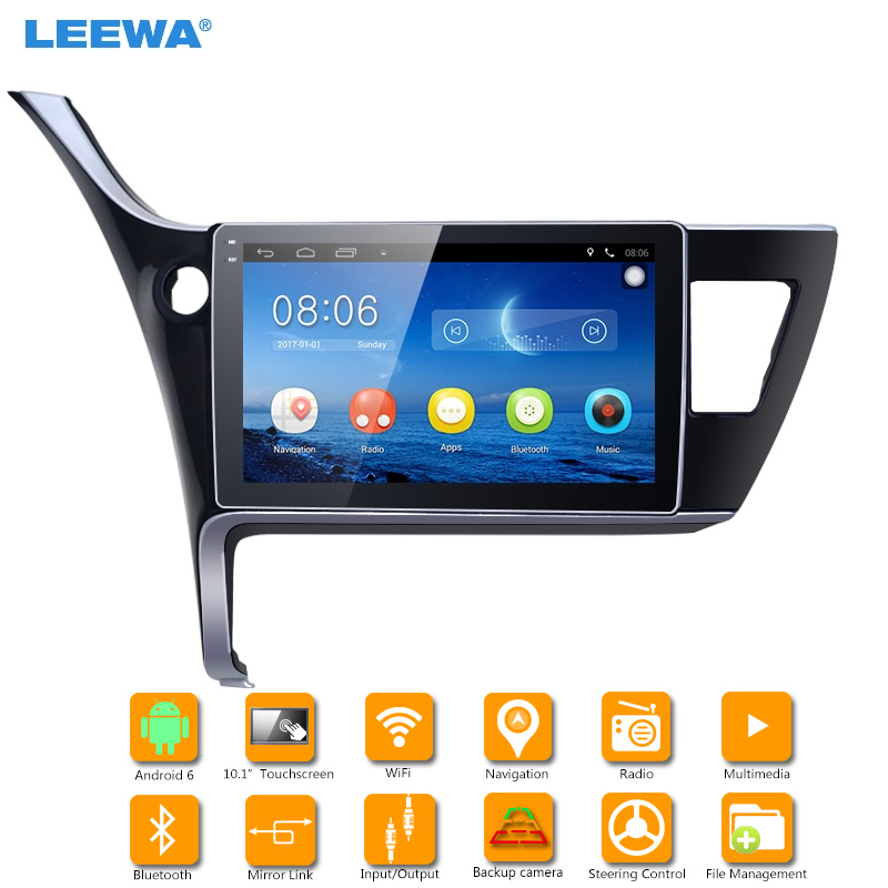 LEEWA 10.1 inch Android 6.0 Quad Core Car GPS Bluetooth Navi Radio USB Media Player For Toyota Corolla 2017(LHD) #CA4211
