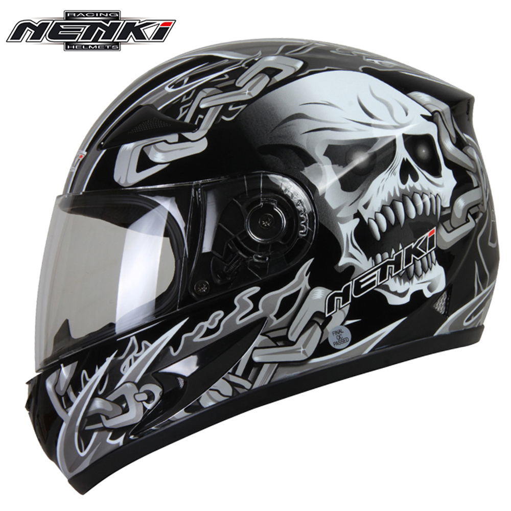 NENKI Motorcycle Full Face Helmet Snowmobile ATV Motorbike Street Bike Motor Riding Racing with Clear Lens Shield for Men Women simple style vintage full face helmet custom made motorcycle helmet retro motor helmet
