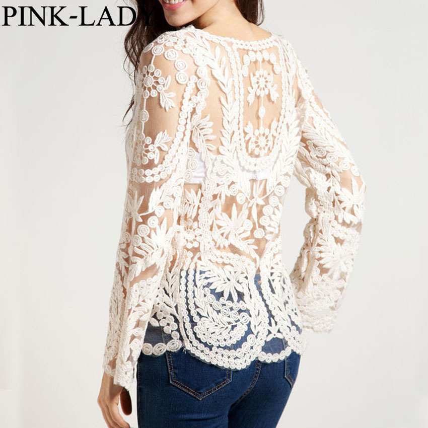 Plus Size Clothing Women Maxi Lace Shirts Sexy Tops See Through Hollow Out Crochet Long Sleeve