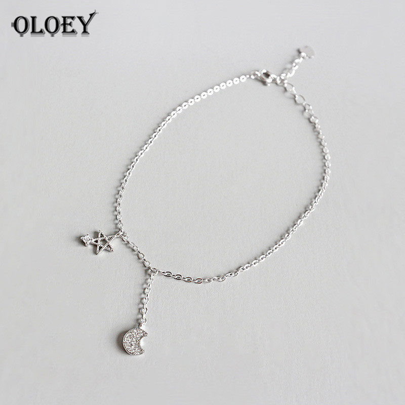 OLOEY 100% Real 925 Sterling Silver Anklets High Quality Shiny Zircon Star&Moon Anklet Fine Jewelry Gift Drop Shipping YMA020