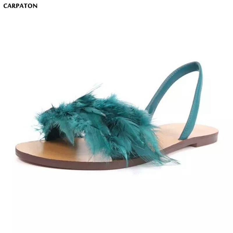 Carpaton 2018 Newest Summer Women Flat Shoes Fashion Feather Open Toe Flat Bottom Wild Women Casual Shoes Beach Shoes women s shoes 2017 summer new fashion footwear women s air network flat shoes breathable comfortable casual shoes jdt103