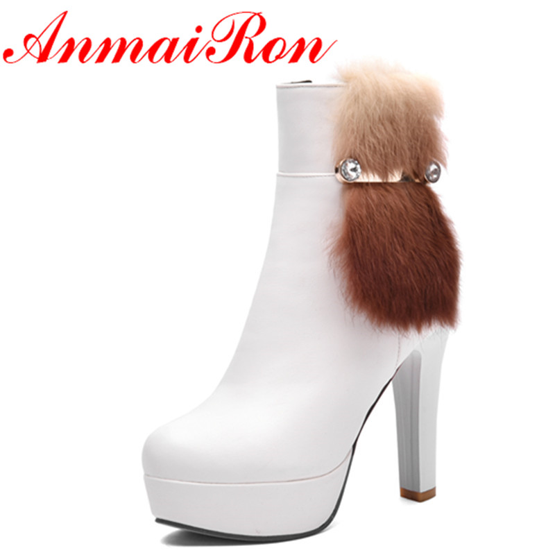 ФОТО ANMAIRON White Shoes Woman High Heels Zippers Fur Charms Rhainstone Ankle Boots for Women Motocycle Boots Platform Shoes