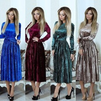 ELSVIOS 2018 Spring Velvet Pleated Dress Women Winter Autumn Robe Velours Elegant Vintage Belted Long Sleeve