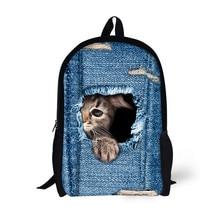 Cool 3D Животных Чувствовал Себя Рюкзак мужской Рюкзак Прекрасный Кот Печати Сумка для Школьниц Студент Bagpack Розничная