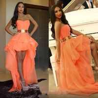 แฟชั่นใหม่Hi-ต่ำสีส้มเร้าใจOrganzaยาวชุดพรหมที่รักชุดราตรีกับSash