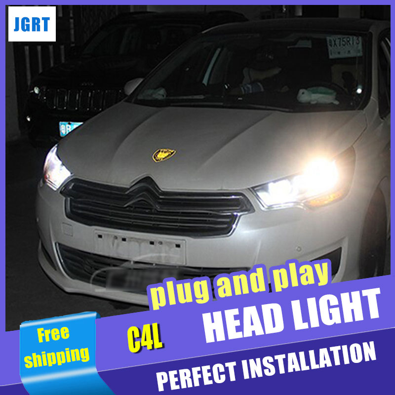 Car Styling For Citroen C4L headlight assembly 2013-2014 C4 led headlight C4 drl projector headlights H7 with hid kit 2 pcs. 2pcs car led headlight kit led bulb d33 h11 free canbus auto led lamps white headlamp with yellow light fog light for citroen c4