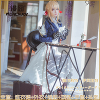 S XL Violet Evergarden Cosplay Costume Anime Violet Evergarden for Women Party Show Costume Dress Set Top + Dress + Gloves
