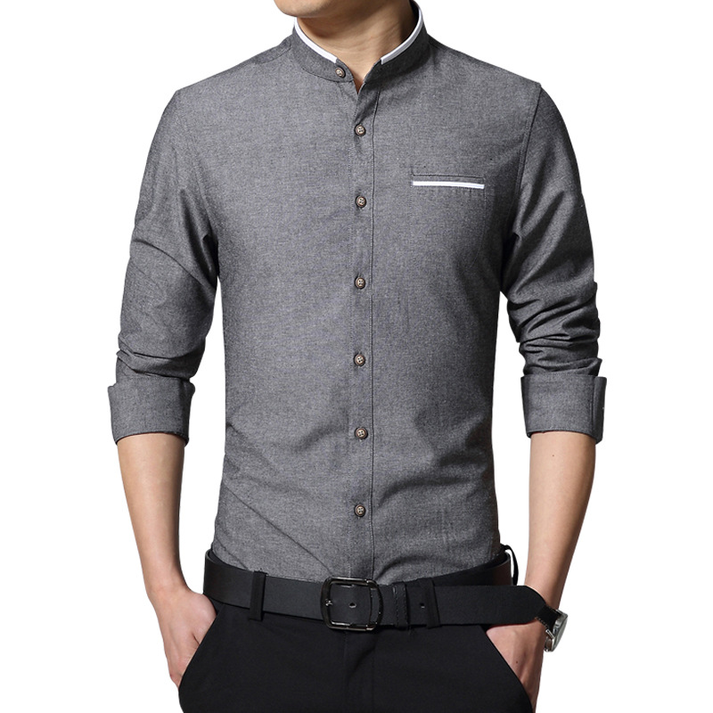 High quality cotton dress shirt men fashion mandarin for Mens high collar dress shirts