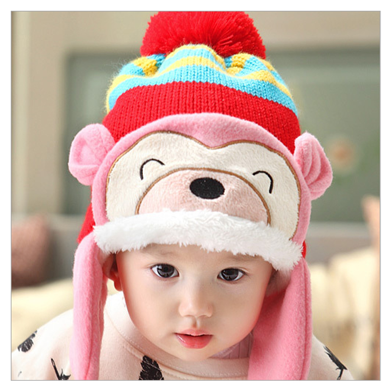2016 baby winter hat ear muff crochet baby hat for children Headwear warm Knitted baby caps Little monkey style plus velvet cap
