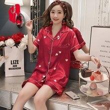 Pyjamas Women Satin Summer Pijama Silk Plus Size Pajamas Short Sleeves Sleepwear Suit Homewear Sleep M L XL XXL