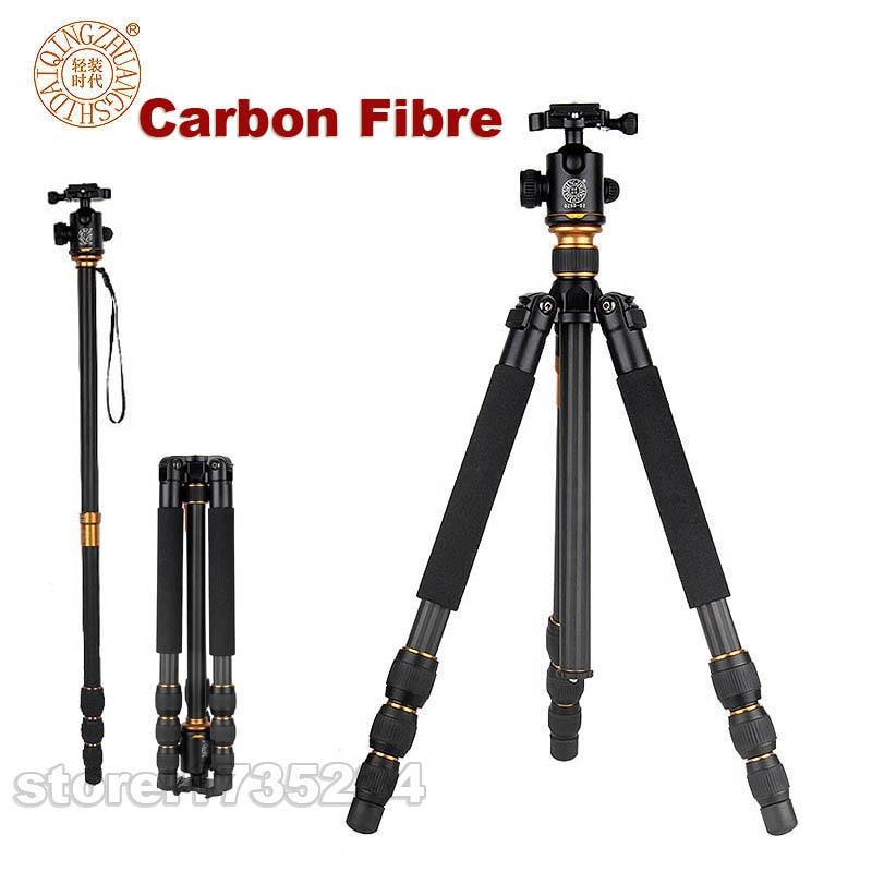 QZSD Q476 monopode professionnel de trépied de Fiber de carbone pour l'appareil-photo de DSLR avec le support Stable se pliant portatif d'appareil-photo de voyage de tête de boule